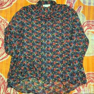 Staring at Stars Sheer Button Down Blouse Floral